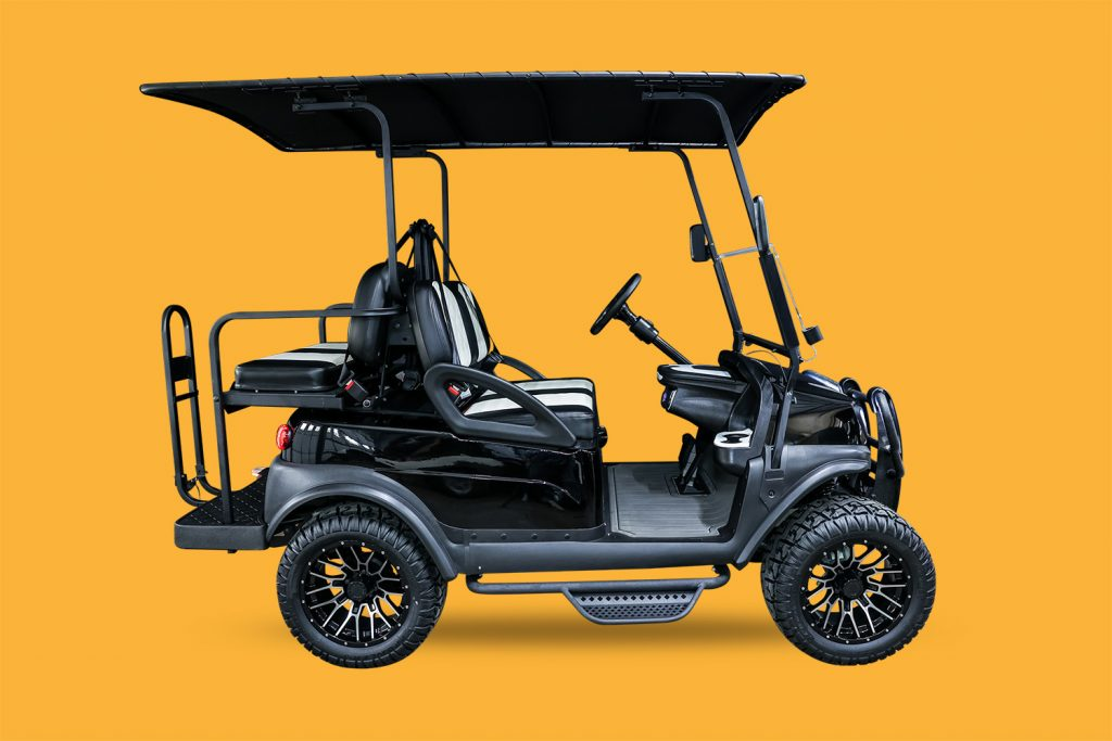 Tempo Body Kit | Black, 84″ Convertible Canvas Rooftop |  Madjax Club Car Tempo and Onward Black Brush Guard | Fold-down Windshield | Madjax LED Ultimate Plus (Halo) Light Kit | Doubletake Sentry Dash Assembly | Madjax MJFX Armor Nerf Bar Drop Down Side | Fender Flare Set for Club Car Tempo