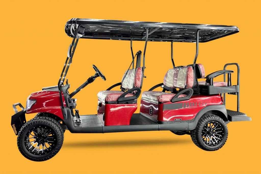 Madjax Red  Alpha Body  @  Dot Glass windshield with automatic windshield wiper @ Club Car Precedent Armor Front Guard Bumper@ Alpha Series Graphic Set for Club Car Precedent (Black) w/ Alpha Body Kit @ Universal Golf Cart Rear View Side Mirror w/ LED Indicators