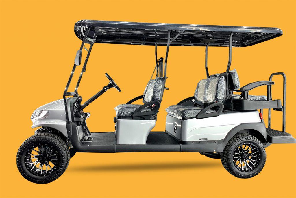 Doubletake Phoenix Body Kit  @  Madjax Replacement LED Headlight @ Universal Golf Cart Rear View Side Mirror w/ LED Indicators @ Dot Glass windshield with automatic windshield wiper